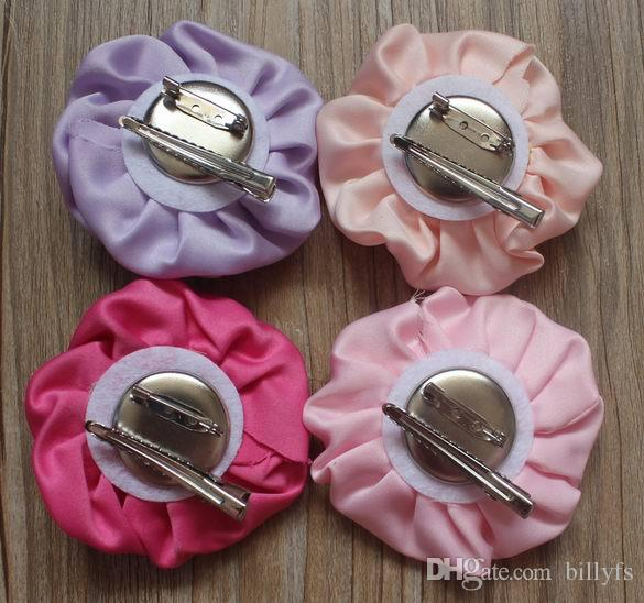 "3"" Satin Ruffled Rolled Rose Puffy Hair Boutique Fabric Clip Flowers for Girls Hair Accessories"