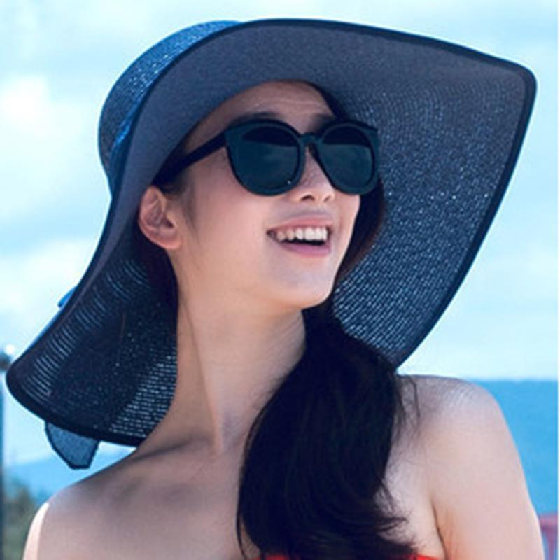 Fashion Summer Wide Brim Straw Beach Cap Women Floppy Cap For Women Ladies  Bow Bowknot Foldable Sun Hats Beach With String Trilby Hats Hat Store From  ... 5d1aa5c367e