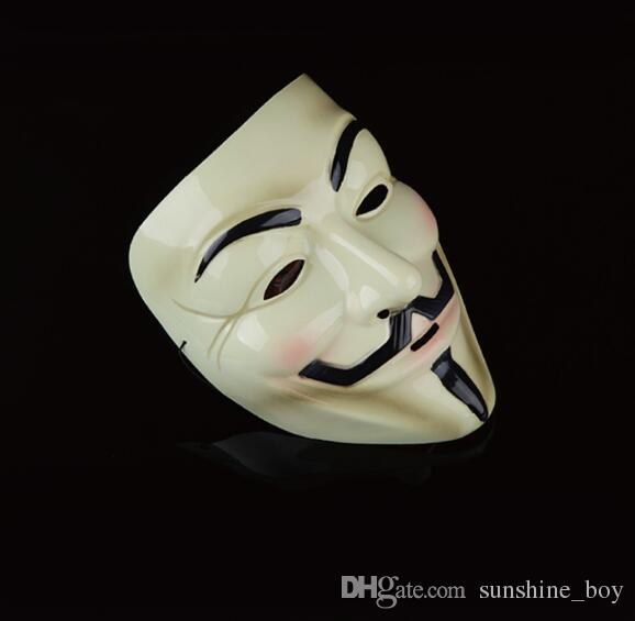 2018 hot sales V for Vendetta white black Yellow Mask with Eyeliner Nostril Anonymous Guy Fawkes Fancy Adult Costume Halloween Mask
