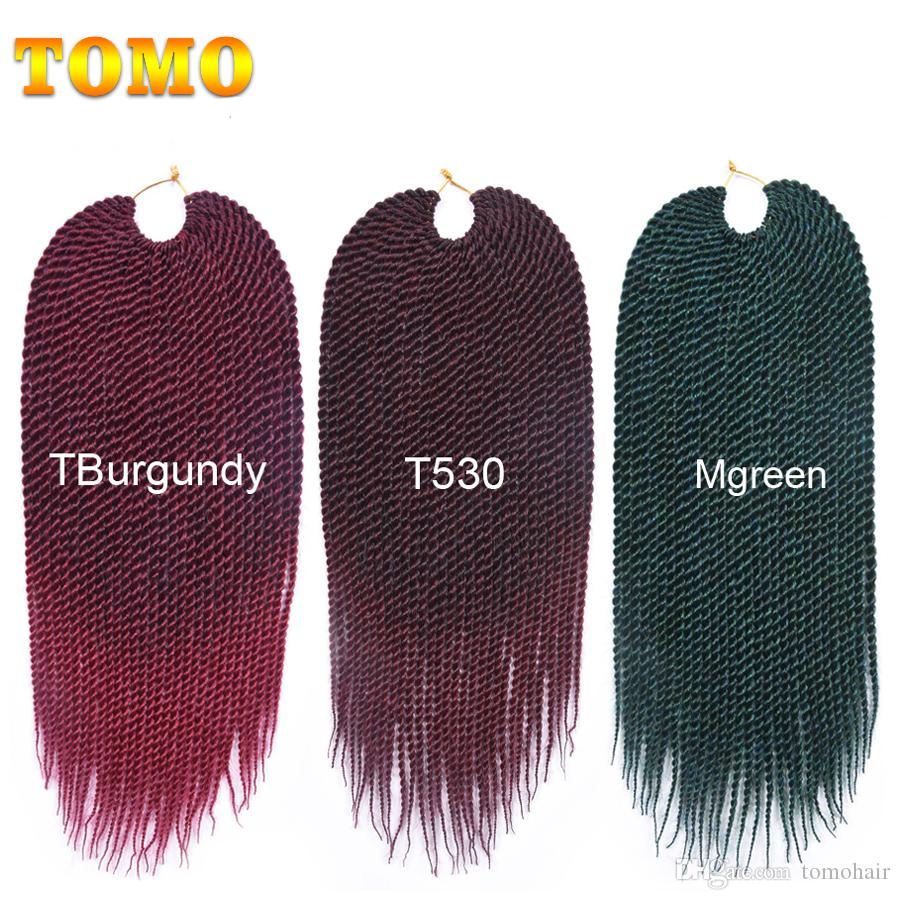 TOMO Senegalese Twist Braids Pure Or Ombre Crochet Braiding Hair Extensions For Black/white Woman Synthetic Havana Mambo Twist 30Roots/pack