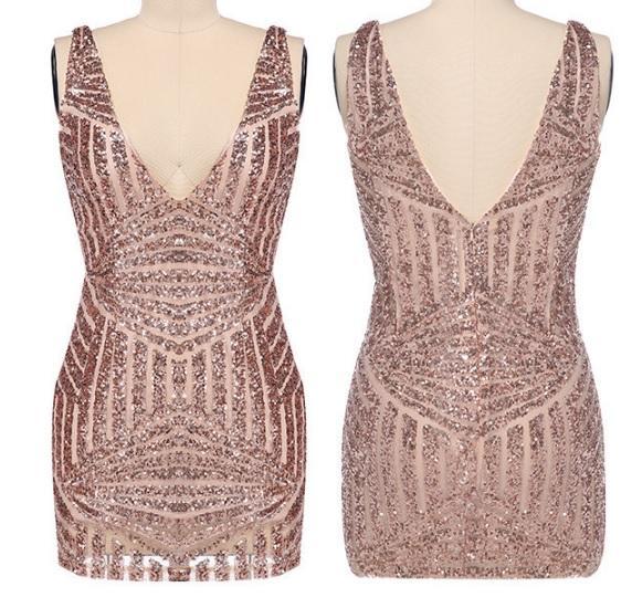 Sequin deep V-neck low-cut short dress sling hip dress
