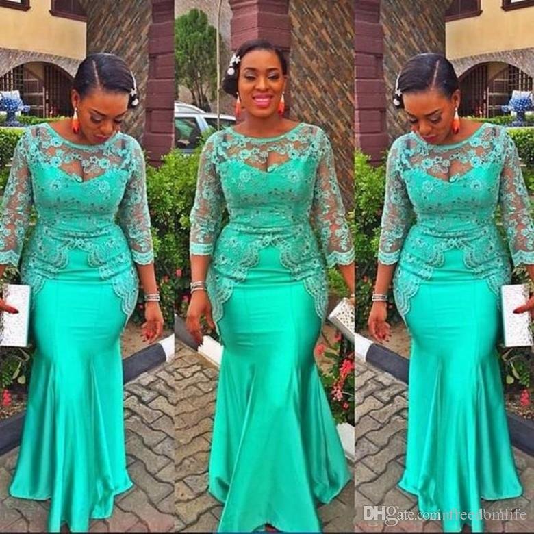 2018 Vintage Turquoise Evening Dresses Lace Nigerian Long Sleeve African Mermaid Prom Dresses Aso Ebi Style Party Gowns