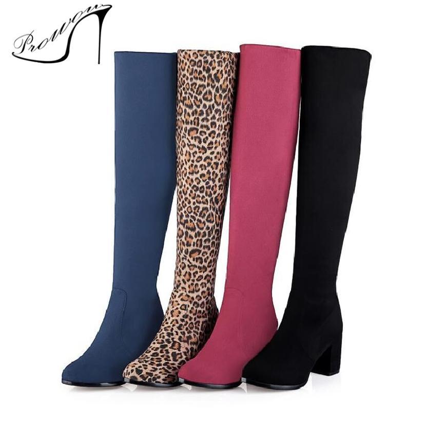 d3527883cd Compre PROWOW Botas Largas Para Mujer De Invierno Leopardo Atractivo  Impreso Otoño Sobre Los Zapatos De La Rodilla Tacón Alto Elástico En Punta  Muslo Botas ...