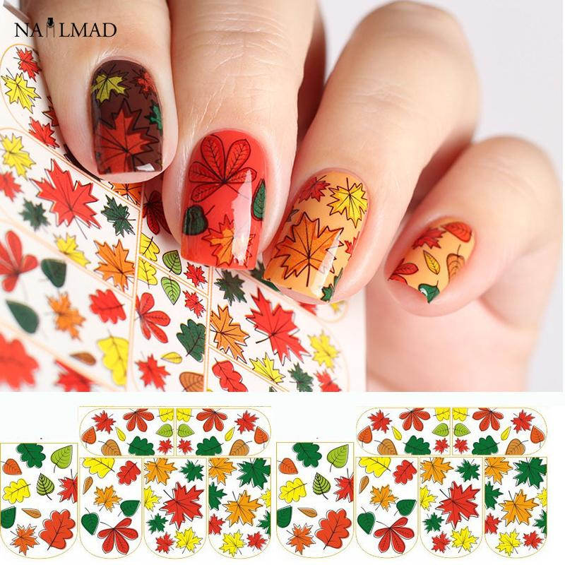 1 Sheet Maple Leaf Nail Water Decals Autumn Leaves Nail Art Sticker