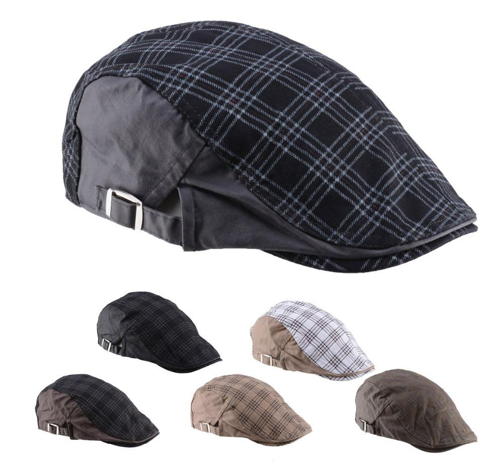 3d5fa1c07208a 2015 New Fashion Plaid Peaked Caps Travel Golf Gorras Planas Boina Beret  Men S Hats From Shemei