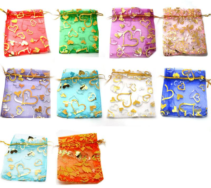 Mix Color Organza 9x12cm Jewelry Gift Box Wedding Gift Candy Pouch Bag With Heart Painting