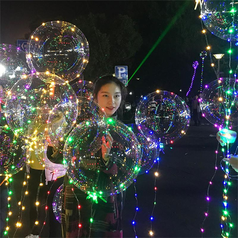 20inch LED Flash bobo ball 3m wave led line lights string balloons colorful flash light clear balls Christmas Halloween Wedding Party Decor
