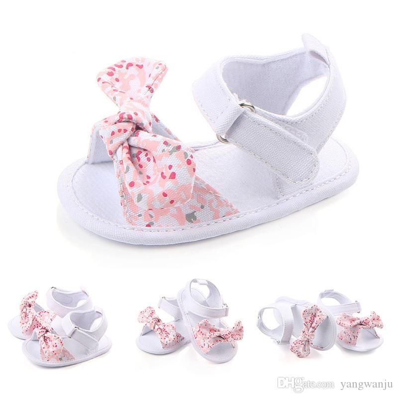 Sweet Summer Baby Shoes Girl Princess Big Bow Floral First Walkers Soft Soled Anti-Slip Kids Crib Bebe Footwear 0-12M