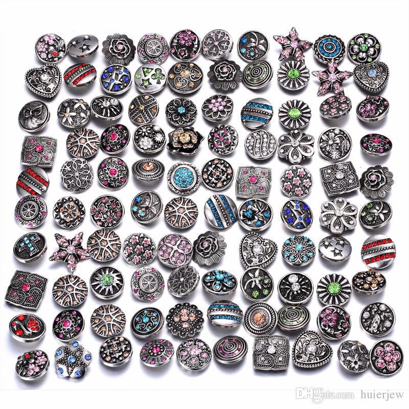 botón a presión 18mm joyería Botones de diamantes de imitación 18mm Botones a presión de diamantes de imitación de metal Fit Snap Pulsera Brazaletes Collares