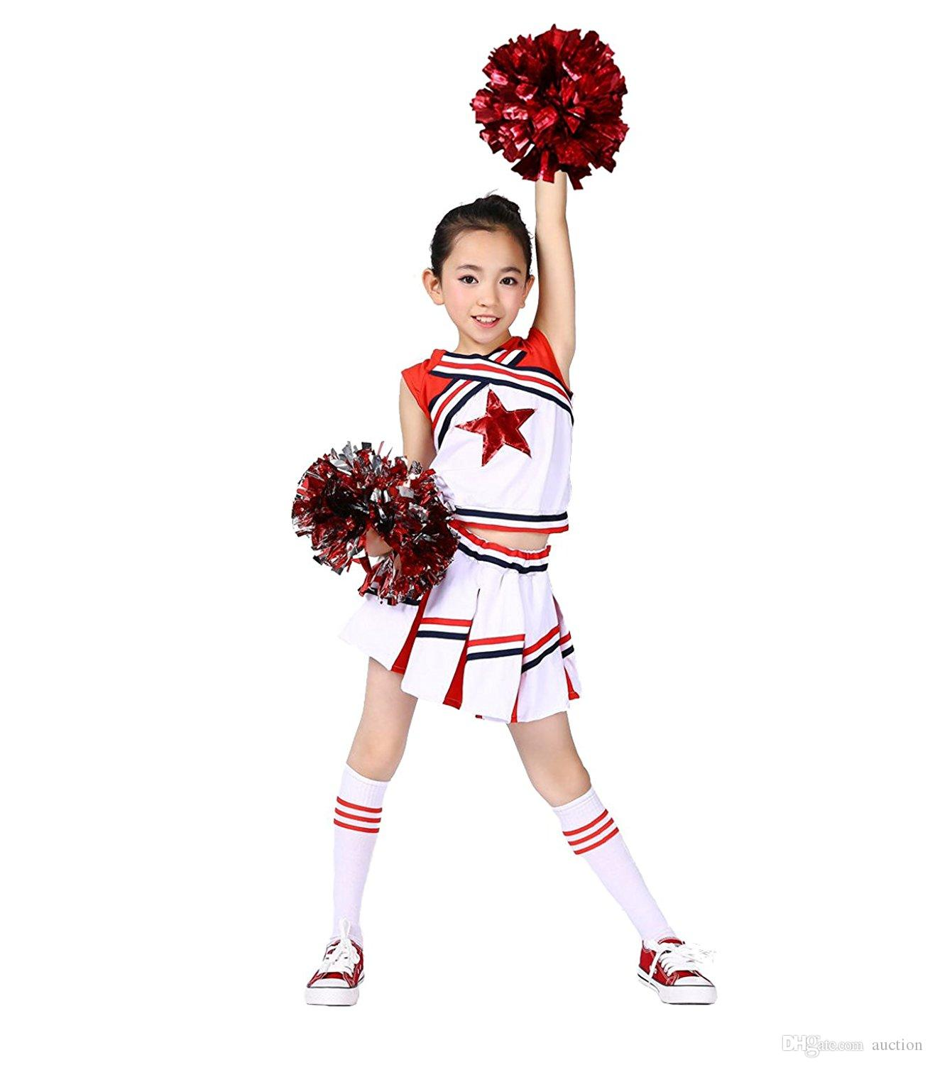 2019 Children Girls Cheerleader Uniform Costume Youth Red Star Cheer Outfit  With Match Pompoms Socks From Auction 3da745ac7