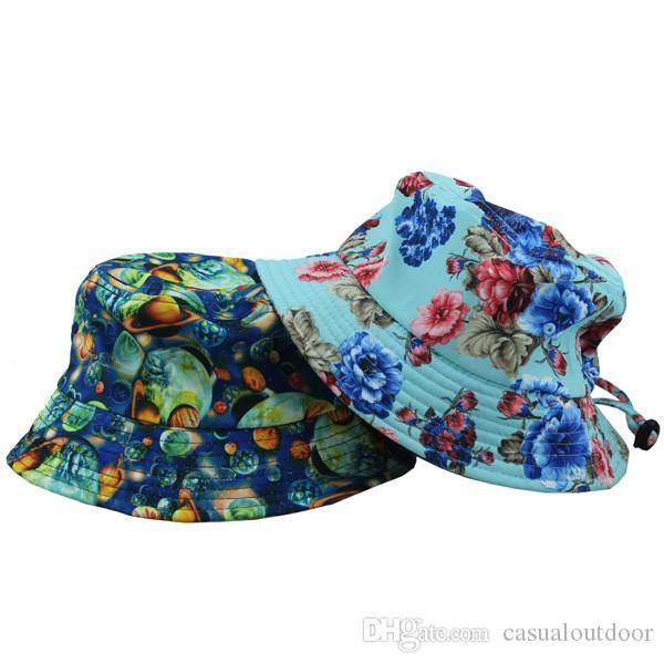 beab3a0d99621 Wholesale 2018 New Outdoor Men Women Bob Fishing Cap Planet Fashion Floral Bucket  Hat With String Hot Sale Straw Cowboy Hats Sun Hats For Men From ...
