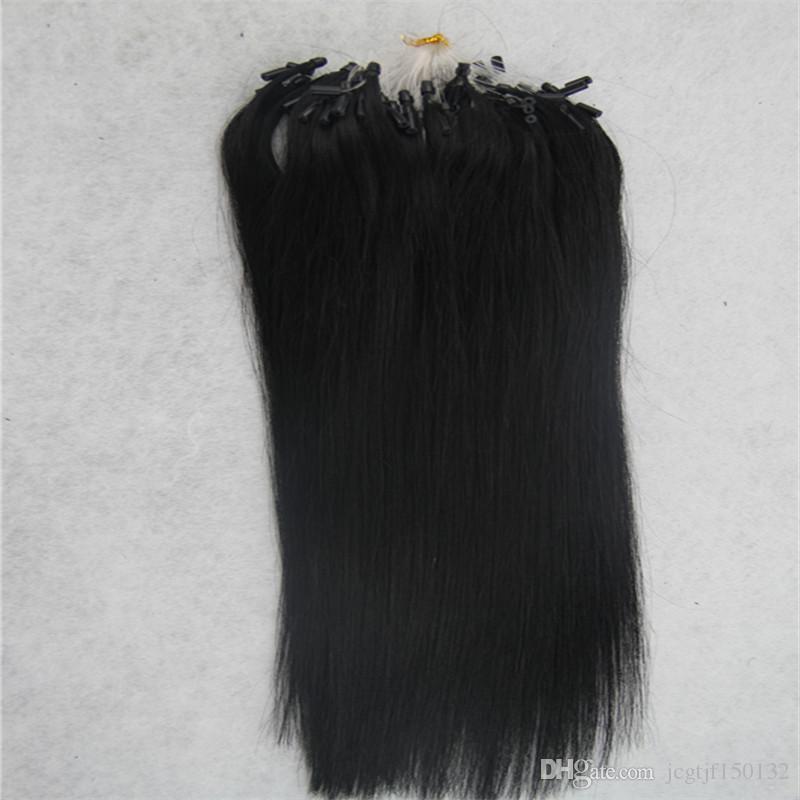 제트 블랙 스트레이트 마이크로 루프 링 머리 확장 100 그램 레미 마이크로 구슬 머리 확장 1 그램 / 가닥 마이크로 링크 인간의 머리 확장