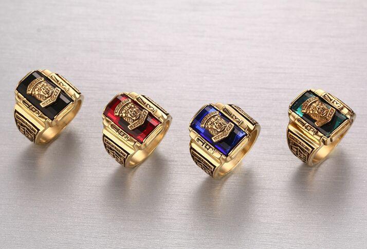 Envío gratis Acero Inoxidable Rojo / negro / verde / azul Rhinestone 1973 Walton Tigers Signet Ring para Hombres, Oro 18K Tamaño 7-11