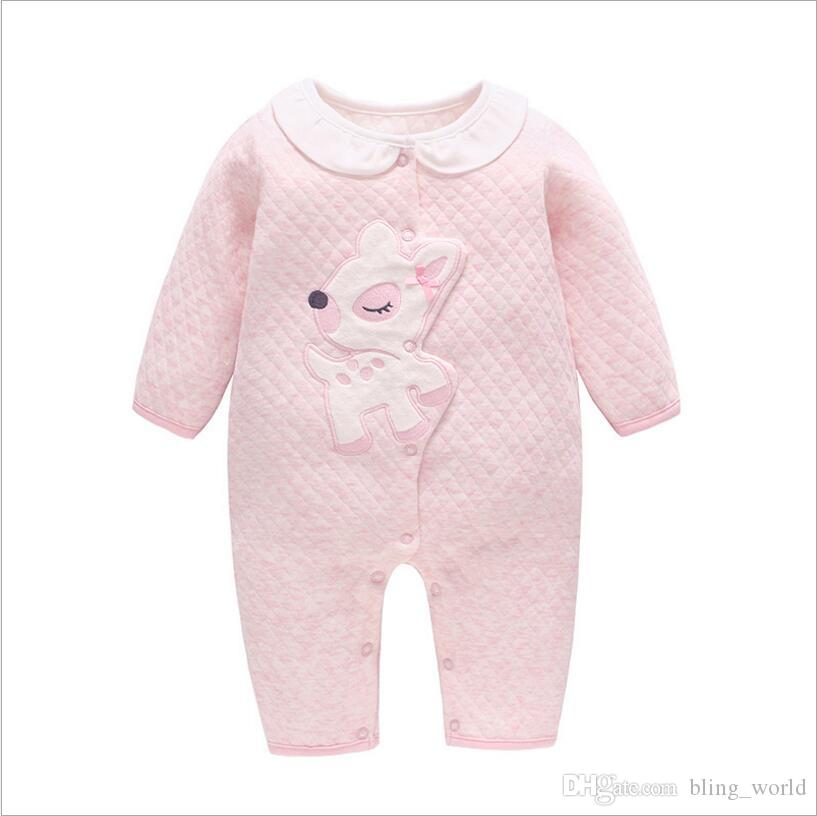 115d92c444 2019 Ins Girls Rompers Solid Color Jumpsuits Toddler Onesies With Bear  Unicorn Embroidery Baby Fashion Rompers Kids Spring Fall Clothes LM101 From  ...