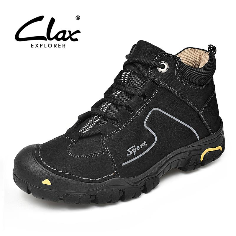 af04f3d7ad9 CLAX Mens Work Boot Genuine Leather Autumn Casual Leather Shoe Male Safety  Shoes Walking Footwear Shoe