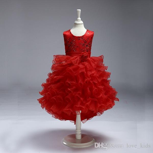 Moda bambino neonato ragazze senza maniche ricamo fiori Ruffle tutu principessa festa di compleanno battesimo abito vestito di muggine