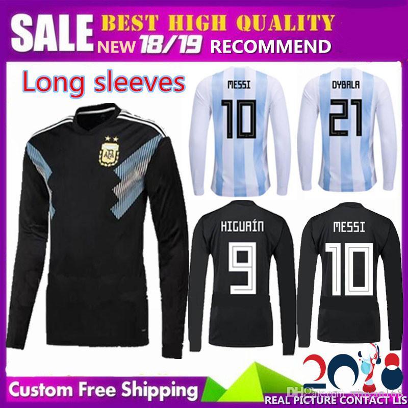 2018 Long Sleeves AGUERO MESSI Away Argentina Soccer Jersey World ... 34b25a2719931