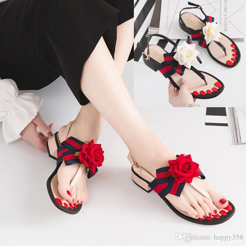 fffadb180933d6 Summer 2018 New Thong Sandals Women Sweet Roses Thick High-heeled Sandals  for Women s Shoes Wedding Shoes Women s Shoes Sandals Online with  36.58 Pair  on ...