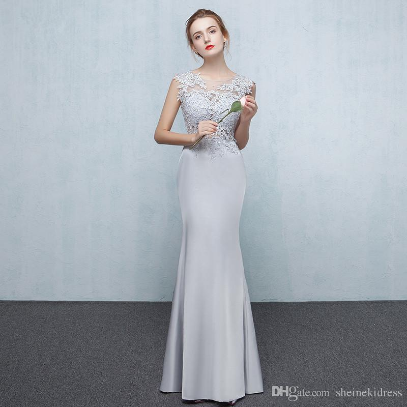 70eb1d2723df 2019 Elegant Silver Gray Jewel Mermaid Long Bridesmaid Dresses Sleeveless  Sheer Back Beaded Lace Appliques Floor Length Evening Dresses Cheap Red  Bridesmaid ...