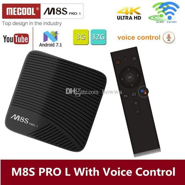 MECOOL M8S PRO L Voice Control Android Box Amlogic S912 64Bit 3GB 16GB dual  band 2 5G/5G WiFi BT4 0 4K OTA update Android 7 1 Streaming Box