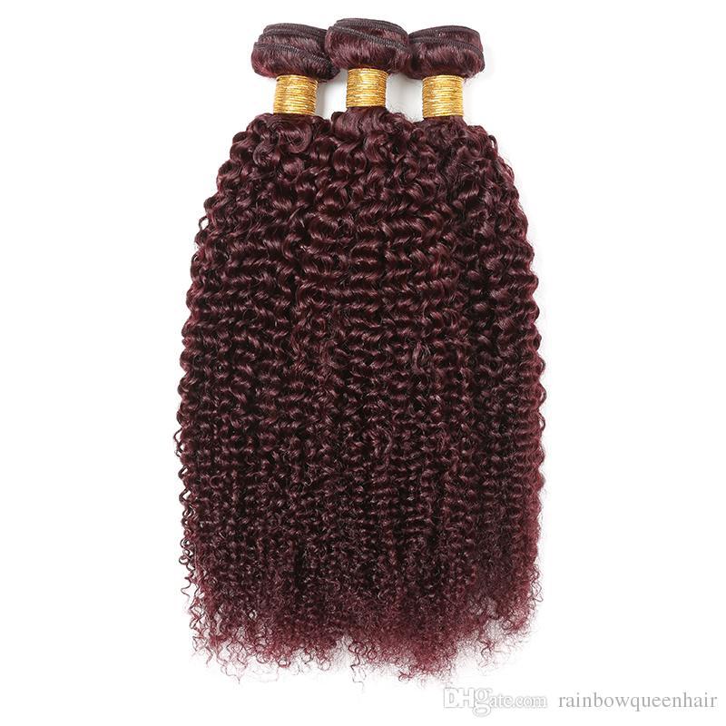 100% Малайзийских человеческих волос расширения 99j вьющиеся волны двойной уток вино красный кудрявый вьющиеся необработанные девственные волосы ткать 4 пачки сделок бордовый