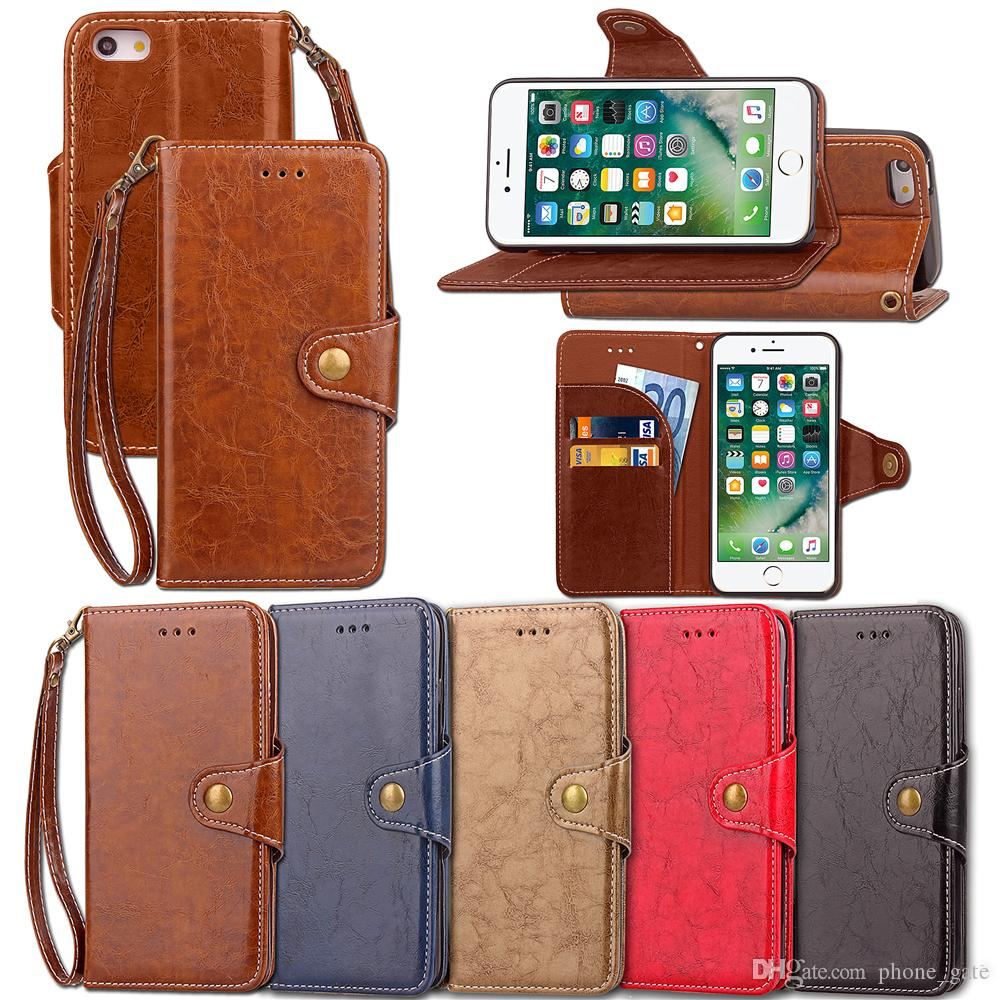 Phone Case For iphone X 8 7 6 For Samsung Note 8 S8 S9 Xiaomi Card Wallet Leather PU+TPU Lanyard Luxury Case