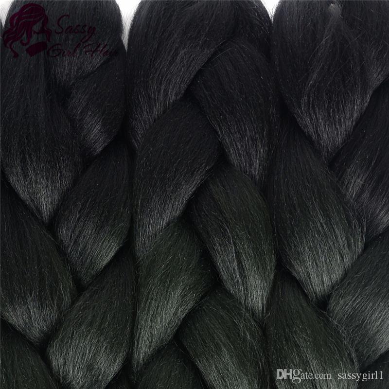 5 조각 2 톤 옴브 브레이드 헤어 크로 셰 뜨개질 머리카락 머리카락 Kanekalon 합성 헤어 익스텐션 24 인치 블랙 / 짙은 녹색