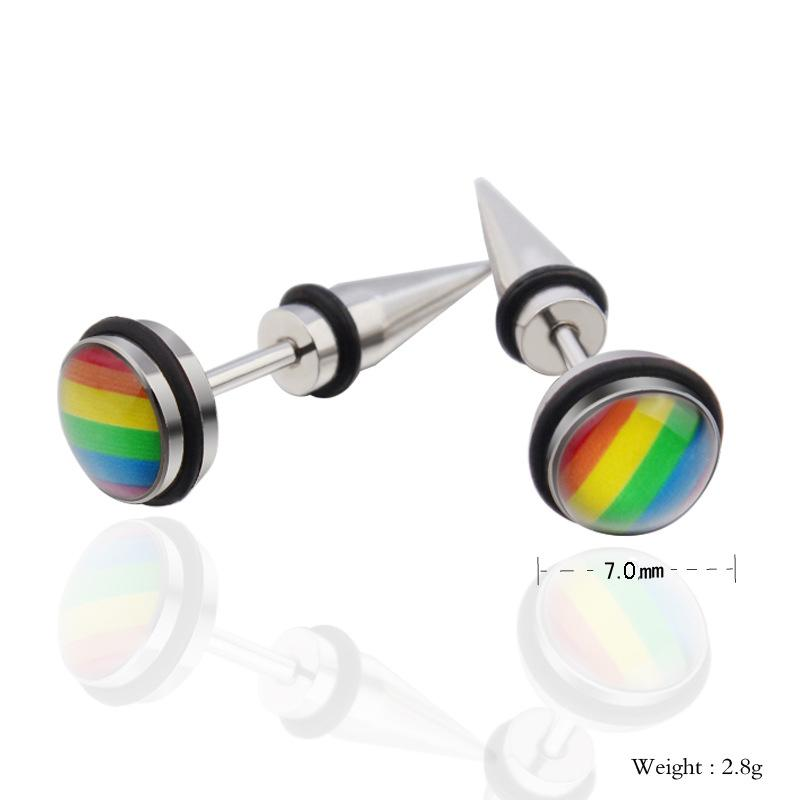 LGBT Rainbow Earring Gay Pride Spike Stud Earrings for Men Women Stainless Steel Fashion Jewelry Brinco Aretes Punk Rock Gift