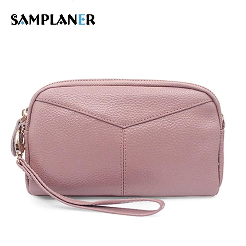 93088cc8d25 Samplaner Candy Pink Clutch Bag for Women Genuine Leather Clutch Wallet  Portable Ladies Wristlet Purse Female Small Handbags