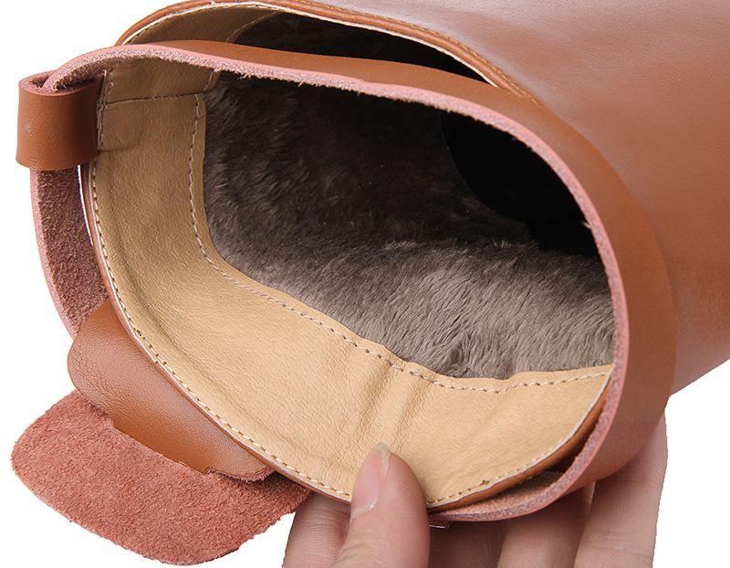 Cuero genuino Lady Buckle Martin Boots Diseñador de la marca Mujeres Botas rectas Knight Chaussure Mujer Plus Size 41 42
