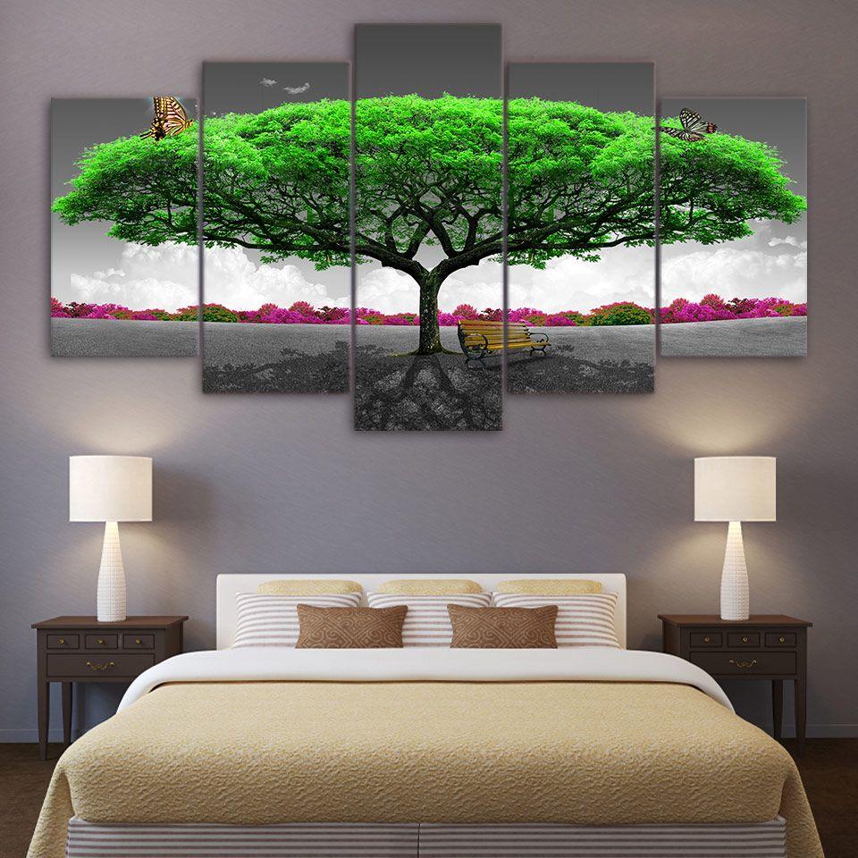 HD напечатаны 5 шт. холст искусства бабочки зеленые деревья абстрактные домашнего декора настенные панно для гостиной Современный NY-7613C