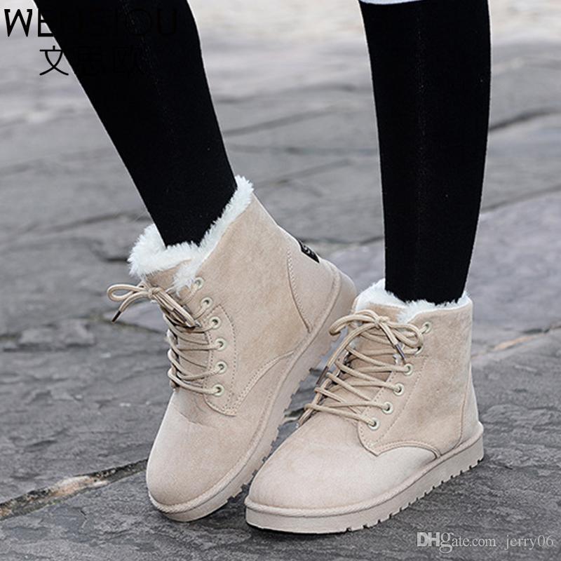 2ce3ead45b5 Compre Invierno De Las Mujeres Botas De Nieve Estilo De Moda Sólido Botines  Femeninos Para Las Mujeres Zapatos Calientes Y Cómodos Botas Mujer ST903 A  ...