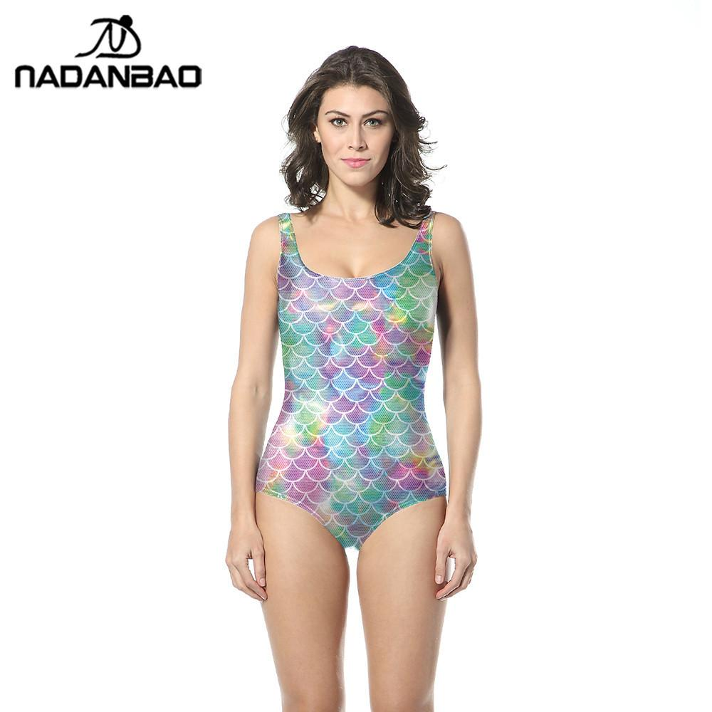 5ae7b111d4e7a NADANBAO Mermaid One Piece Swimsuit Colorful SwimWear Bathing Suit Fish  Scales Printed Swimsuit Women Sleeveless Swim Suit UK 2019 From New11