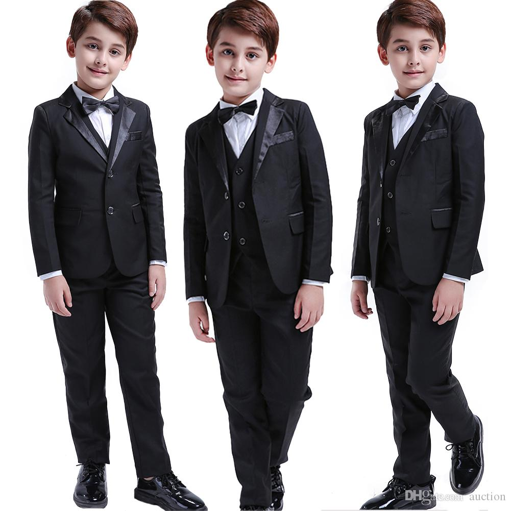 a480f9ec3d80 2019 Toddler   Boys Formal Children Tuxedo Wedding Party Suit Black Boys  Suits From Auction