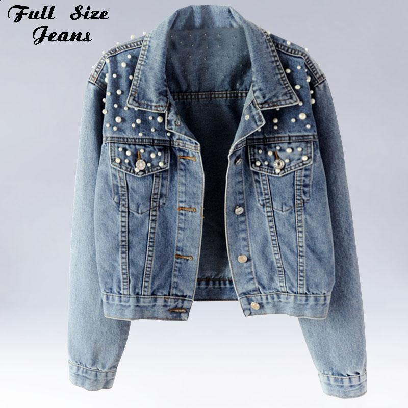 d7f52183f4 Plus Size Pearl Beading Short Denim Jackets 3Xl 5Xl Women White Wash Long  Sleeve Vintage Casual Jean Jacket Bomber Denim Coat Denim Jackets Blue  Jacket From ...