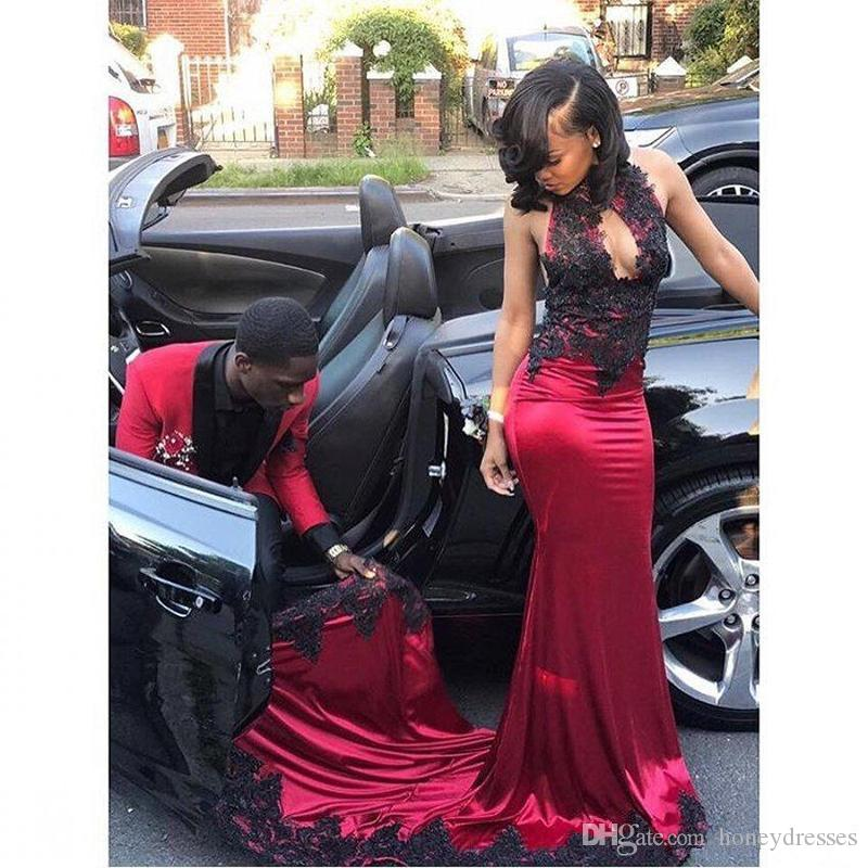 Sexy Prom Dresses 2018 High Neck Sleeveless Off the Shoulder Backless Sweep Train Satin and Lace with Applique Long Party Evening Dresses