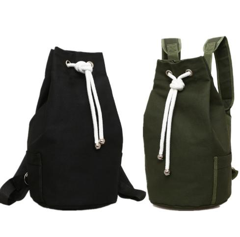 Casual Men Canvas Backpack Mochila de barril de gran capacidad Army Green String Drawstring Daypack para hombres Back Pack Mochilas Q179