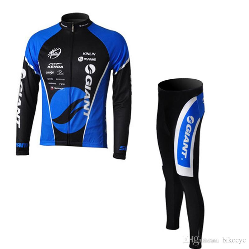 GIANT team Cycling long Sleeves jersey bib pants sets thin Ropa Ciclismo Fashion quick-dry MTB bicycle clothes men C1403