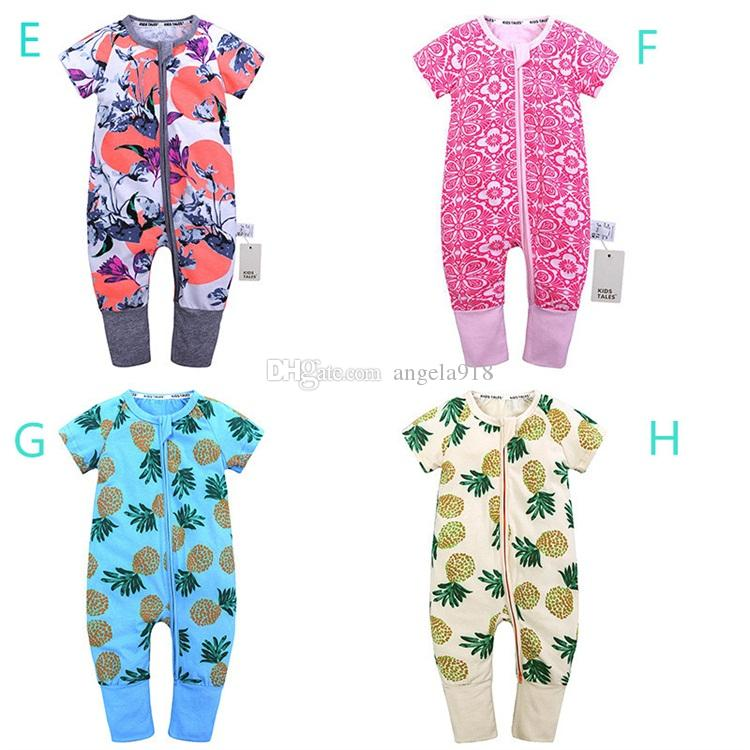 Ins hot vender bebê dos desenhos animados roupas 0-2 anos de idade do bebê macacões impressos de verão em torno do pescoço de manga curta de algodão raisin romper H042