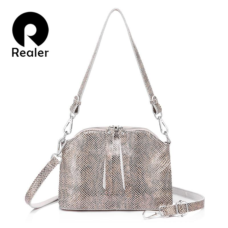 REALER Crossbody Bags For Women Genuine Leather Handbags Female Shoulder  Messenger Bags Small Totes High Quality Top Handle Bag Leather Bags  Designer Purses ... c859bd2beadd1
