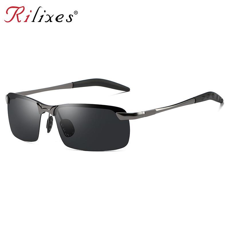 617acb4779 Occhiali da sole polarizzati da uomo 2018 telaio in alluminio al magnesio  occhiali da guida per auto da sole 100% UV400 occhiali da vista polarizzati