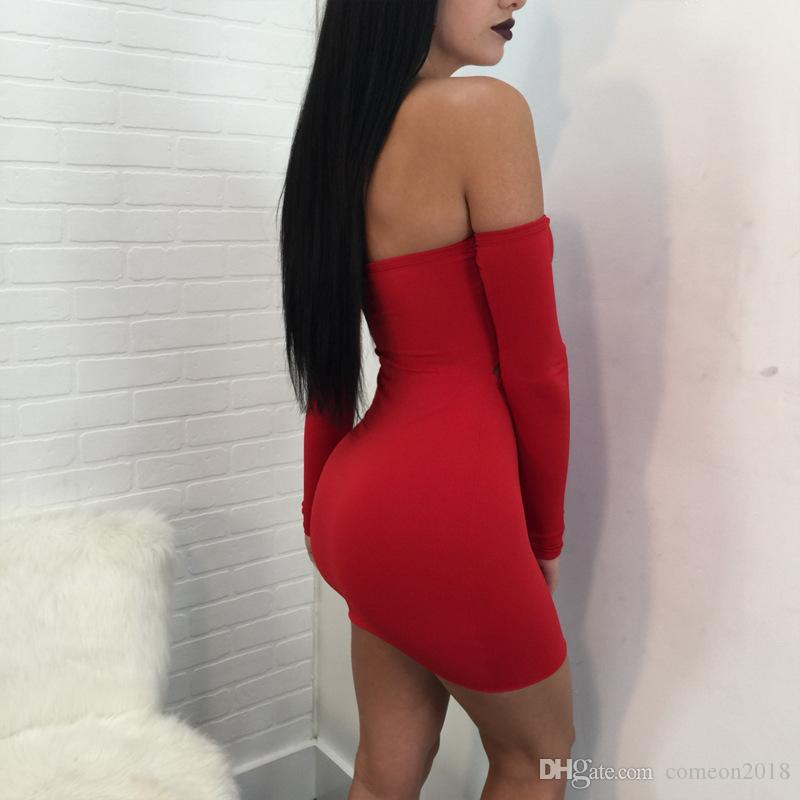 Sexy Tight Night Club Dresses Strapless Long Sleeve Package Hip Wrap Chest Casual Dresses for Women Clothing Solid Red Black Lady Dresses