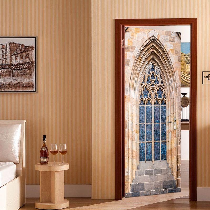 Most Popular Gothic Window Door Sticker Vinyl Removable Wallpaper