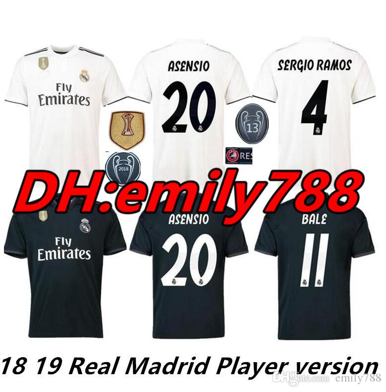 097feb41b71c2 Liga De Campeones 2019 Player Version Soccer Jersey 18 19 Camiseta De Real  Madrid Home Soccer   8 Kroos   22 Isco   20 Asensio Uniforme De Fútbol Por  ...