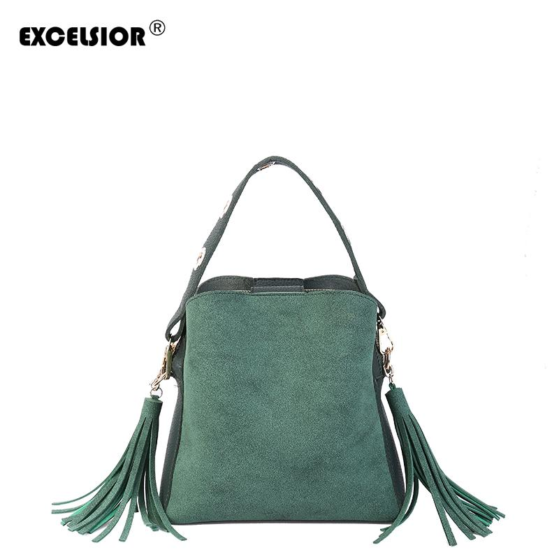 EXCELSIOR Hot Sale High Quality PU Leather Women S Handbag New Fashionable  Bucket Bag With Tassel Double Sided G2116 Designer Handbags School Bags  From ... 093629f4f6569