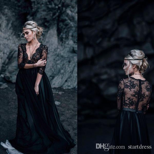 e976e44b957d Discount 2019 New Black Gothic Wedding Dresses Top Lace Half Sleeve Beach  Country Wedding Dress Deep V Neck Cover Back A Line Cheap Buy Wedding Dress  Cheap ...
