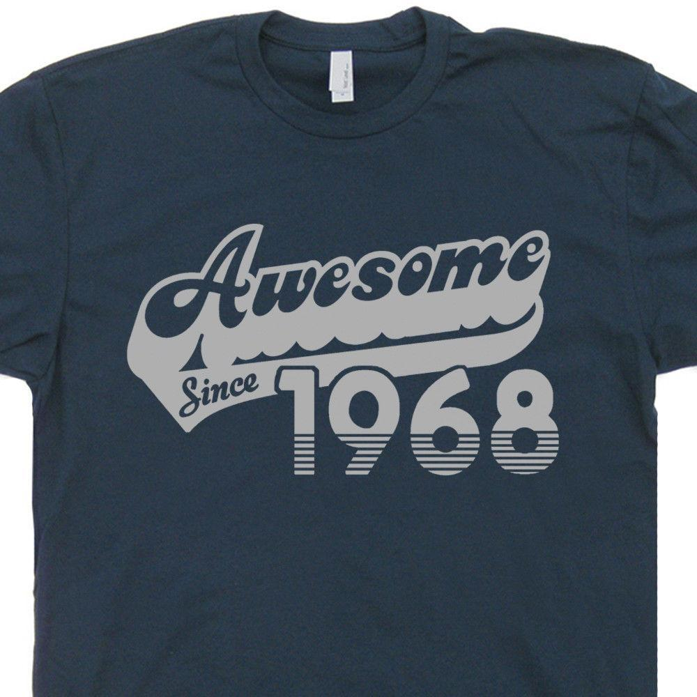 50th Birthday T Shirt Awesome Since 1968 Tee Aged To Perfection