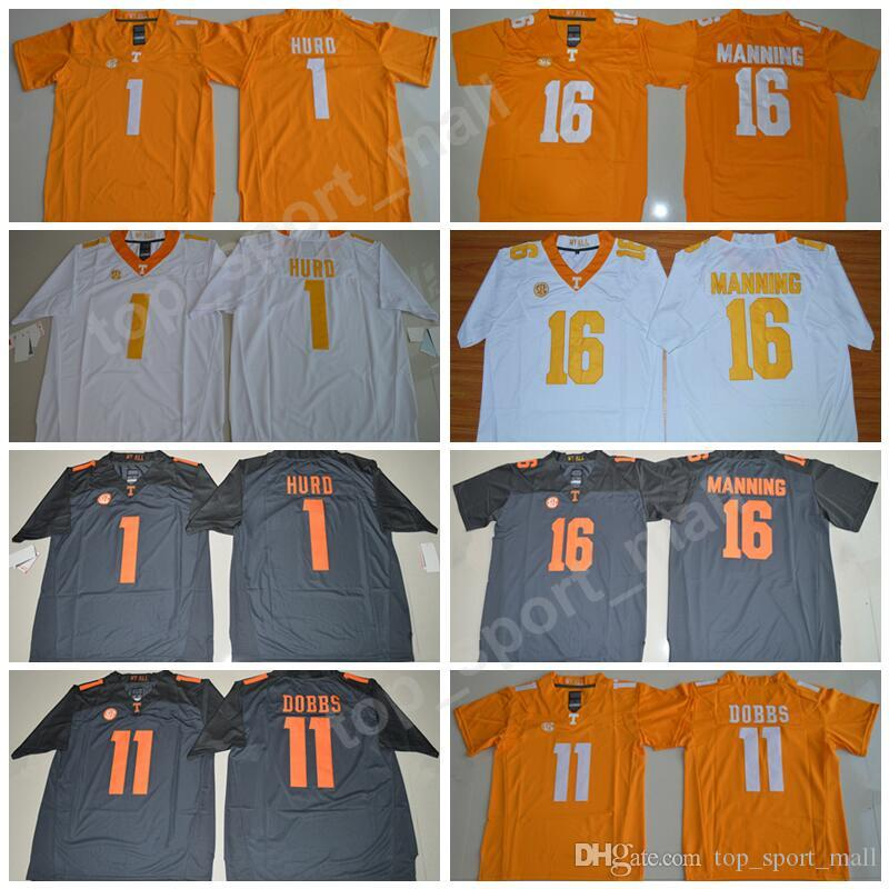 quality design 2ad24 30c32 Tennessee Volunteers 16 Peyton Manning Jersey Men Football 1 Jalen Hurd 11  Joshua Dobbs College Jerseys SEC Men Stitched Orange Gray White