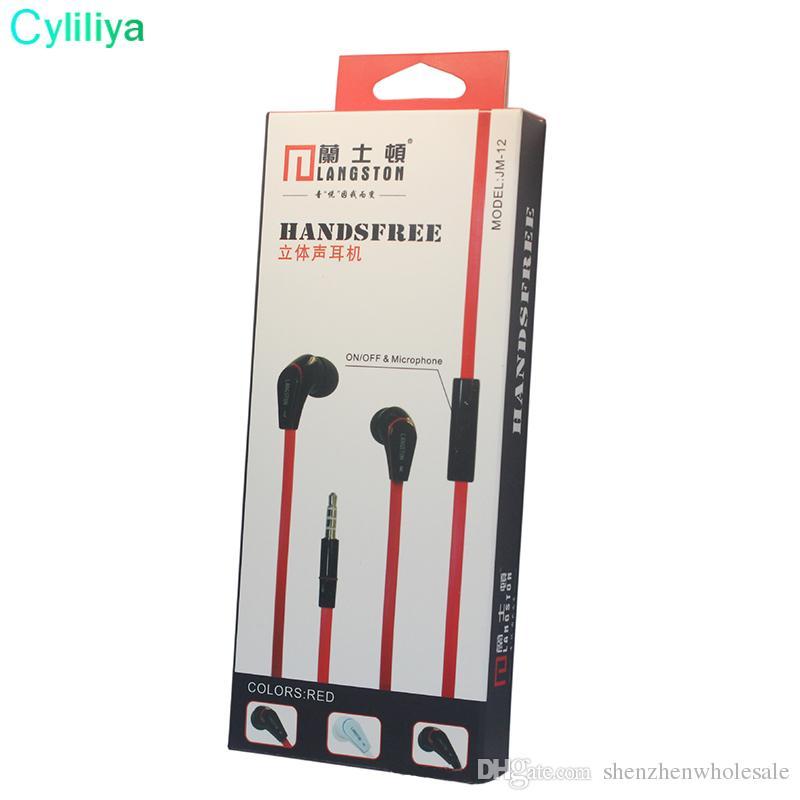 Wholesale Fashion New Arrival Langston JM12 Flat in ear Earphone and Headphone With Mic Handsfree Headset