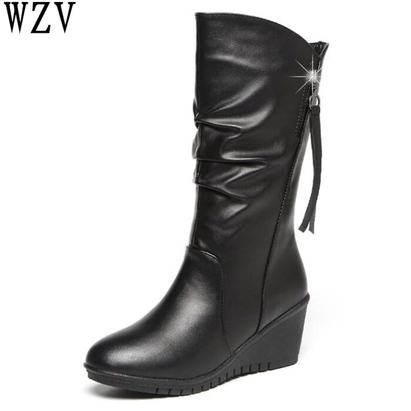 93996e88bcd5 2018 Fashion Female Warm Mid-calf Boots Women Boots Snow Autumn Winter  Comfortable Women Shoes Size 35-42 F120 Mid-Calf Boots Cheap Mid-Calf Boots  2018 ...